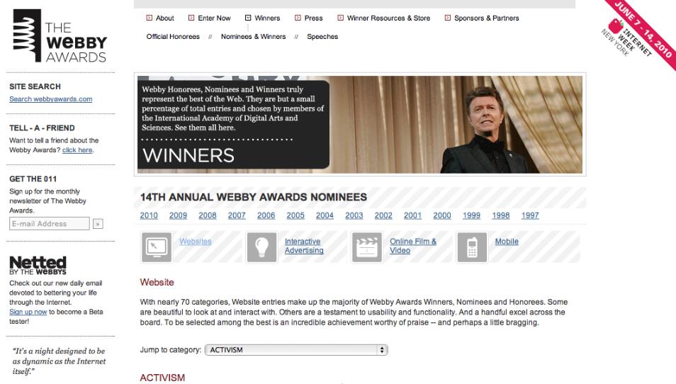 the webby awards. The 14th Annual Webby Award